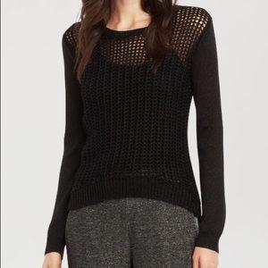 Kenneth Cole Black Open Weave Sweater L